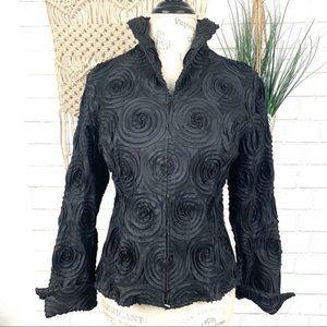 Samuel Dong textured black zippered blazer M